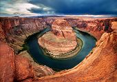 Horseshoe Bend, A Vibrantly Colorful Canyon Cut By The Colorado River In Northern Arizona By Page.   poster