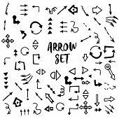 Hand-drawn Doodle Arrows Vector Set. Illustration Of Grunge Sketch Handmade Watercolor Doodle Vector poster