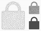 Mesh Lock Model With Triangle Mosaic Icon. Wire Carcass Triangular Network Of Lock. Vector Mosaic Of poster