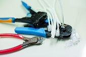 Crimper And Wire Cutter Isolated On A White Background. Twisting Cable Tool Twisted Pair Ethernet Ut poster