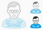Mesh Nerd Guy Model With Triangle Mosaic Icon. Wire Carcass Triangular Mesh Of Nerd Guy. Vector Mosa poster
