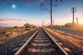 Railroad And Blue Sky With Moon At Sunset. Summer Rural Industrial Landscape With Railway Station, S poster