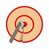 Axe In Target On White Background. Axe Throwing, Lumberjack Sport. poster
