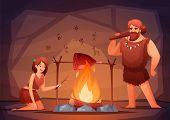 Stone Age Prehistoric Home Interior Flat Composition With Caveman Family Cooking Meat Over Open Fire poster