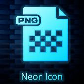 Glowing Neon Png File Document. Download Png Button Icon Isolated On Brick Wall Background. Png File poster