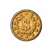 Sketch Of Old Gold Coin With Dollar Sign. Hand Drawn Vector Illustration In Retro Style On White Bac poster