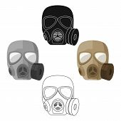 Army Gas Mask Icon In Cartoon Style Isolated On White Background. Military And Army Symbol Stock Bit poster