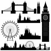 picture of westminster bridge  - Vector illustration of the various landmarks of London - JPG