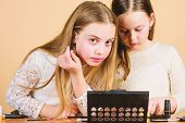 It Takes Makeup To Look Natural. Cute Little Girls Doing Makeup To Find Their Perfect Look. Adorable poster