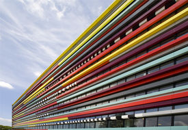 picture of modern building  - The colorful facade of a building of the Hogeschool van Utrecht - JPG
