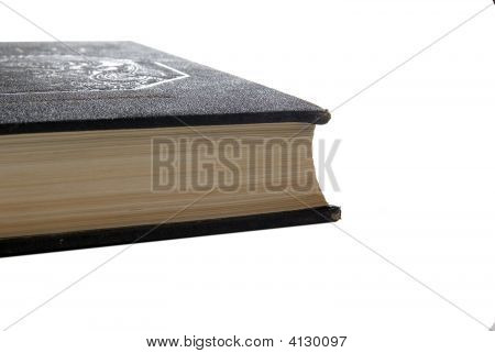 Old Book With Black Leather Decorative Cover