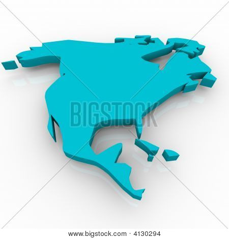 Map Of North America Blue