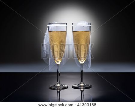 Champagne Glasses With Conceptual Same Sex Decoration