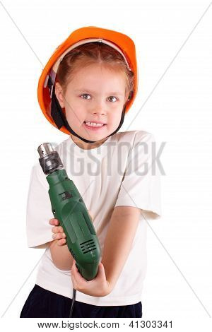 Beautiful Little Girl With Drill
