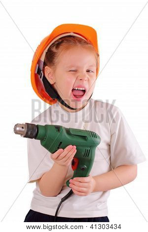 Cute Little Girl With Drill