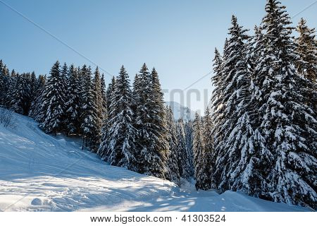 Ski Slope And Beautiful  Landscape In Megeve, French Alps, France