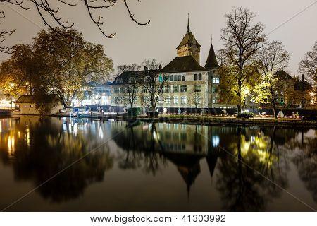 Swiss National Museum (schweizerisches Landesmuseum) In Zurich At Night, Switzerland