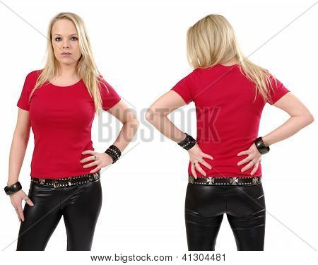 Blond Woman Posing With Blank Red Shirt