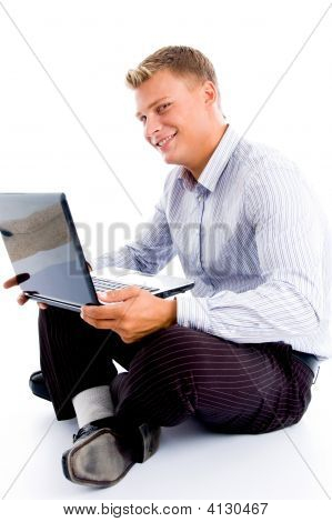Smiling Male With Laptop