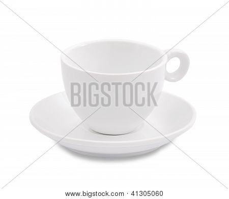 White Coffee Cup And Saucer On White Background