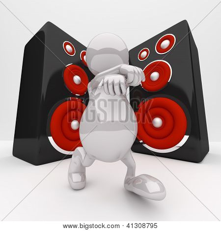 3D People Dancing In Front Of The Speakers