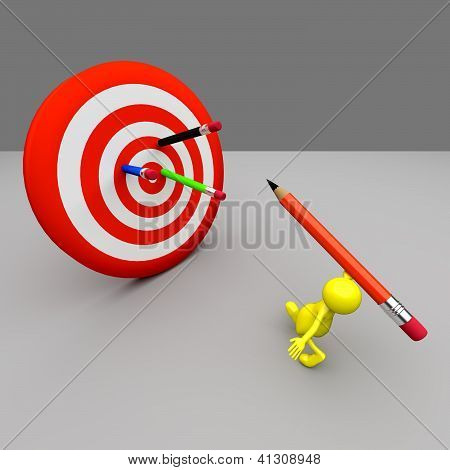 3D People Target And Pencils