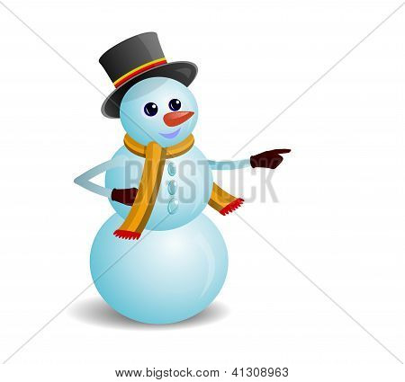 Amused Snowman To Show The Way
