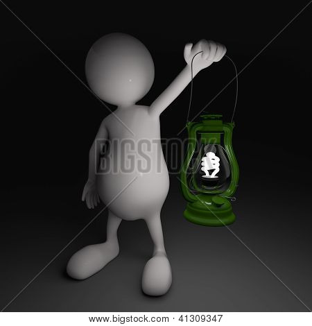3D People With Lantern In Hands With Energy Saving Bulb