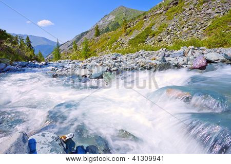 Mountain Landscape With Fast River