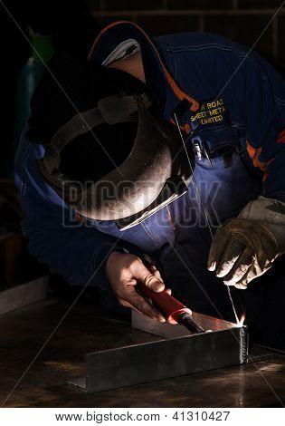 close up Welder at work