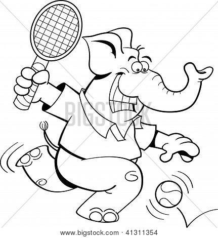 Cartoon elephant playing tennis