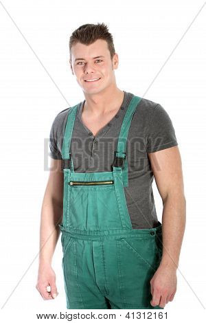 Strong Fit Man In Dungarees