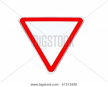 "Road Sign ""give Way""  Isolated On White"
