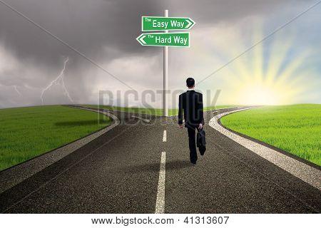 Businessman on easy way path