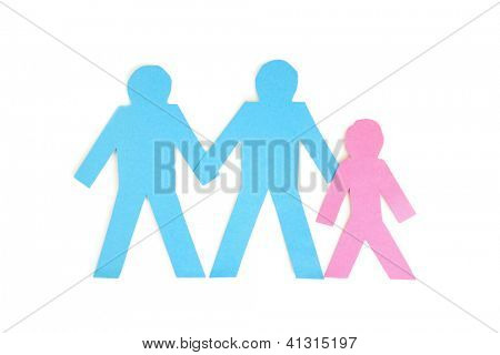 Paper cut outs of three stick figures over white background