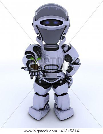 3D render of a Robot nurturing a  seedling plant