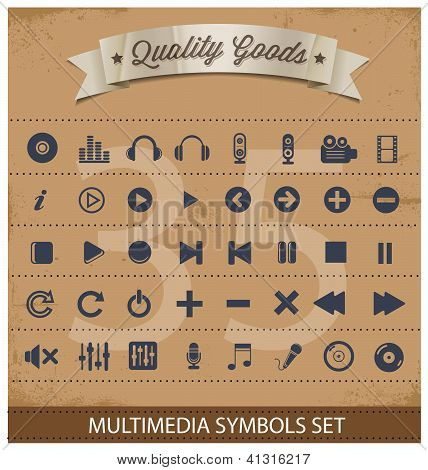 pictogram multimedia symbols set