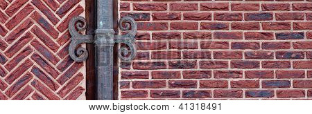 red brick wall with shod decor