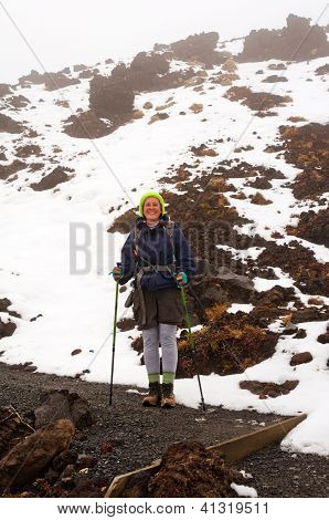 Hiker Enjoying The Snow On A Mountain In Unique Clothing