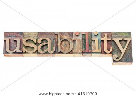 usability word - user friendly concept - isolated text in vintage letterpress wood type printing blocks