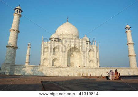 Tourists enjoying Taj Mahal view - great monument listed as UNESCO World Heritage Site,Agra,India