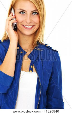 A picture of a young beautiful woman talking on a cell phone over white background