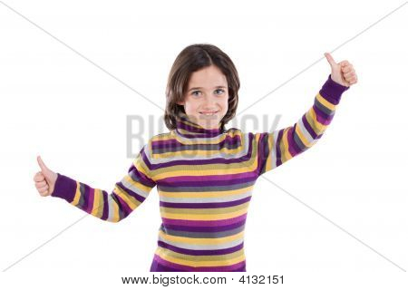 Cheerful Winner Girl Saying Ok