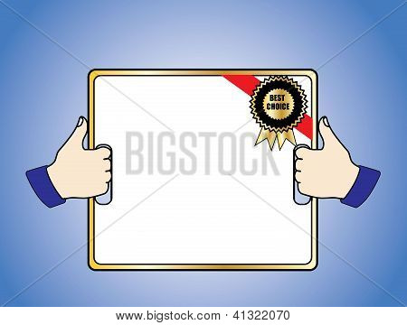 Best Choice Badge On A White Board Held In 2 Thumps Up Hands