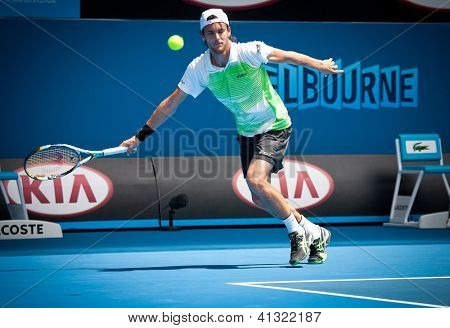 MELBOURNE - JANUARY 17: Joao Sousa  of Portugal in his second round loss to Andy Murray of Scotlandr at the 2013 Australian Open on January 17, 2013 in Melbourne, Australia.