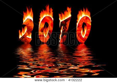 2010 New Year Numbers In Fire Flooding Water