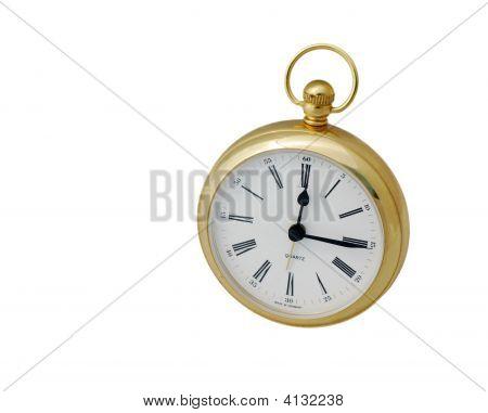 Brass Clock On White