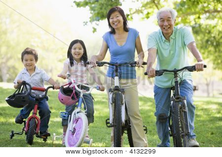 Grandparents Bike Riding With Grandchildren.