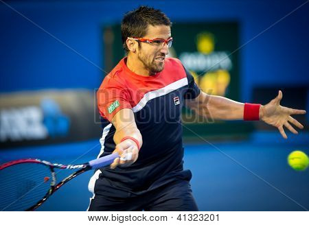 MELBOURNE - JANUARY 14: Janko Tipsarevic of Serbia in his first round win over Lleyton Hewitt of Australia at the 2013 Australian Open on January 14, 2013 in Melbourne, Australia.