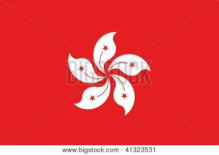 illustrierte Zeichnung der Flagge von Hongkong